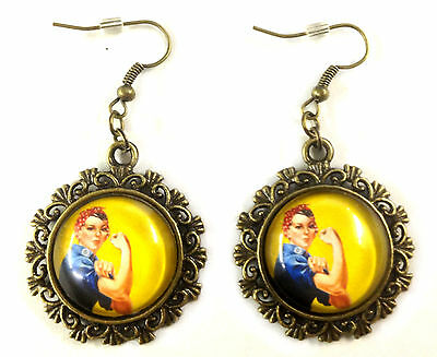 Rosie the Riveter WWII Feminist icon Antique Bronze Earrings Steampunk Artisan