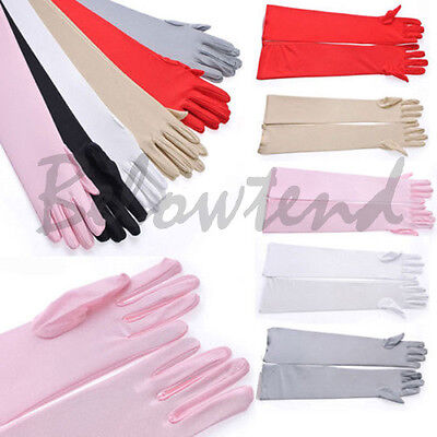 Stretch Satin Gloves Wrist Elbow Opera Long Evening Party Prom Fancy Costume