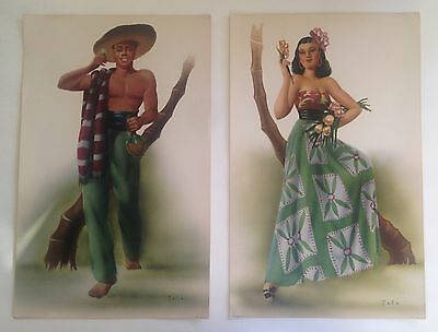 Pair of 1940s Colorful Art Prints of South American Man and Woman by Telo