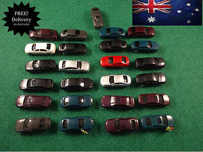 N Scale Model Cars Lot Of 24 Mini Vehicles Small Cars Locomotive Scenery Project