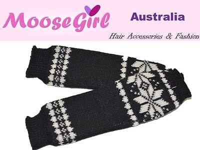 Snow Flakes Knitted Fingerless Gloves Warm Long Glove Women Men Teens Arm Warmer