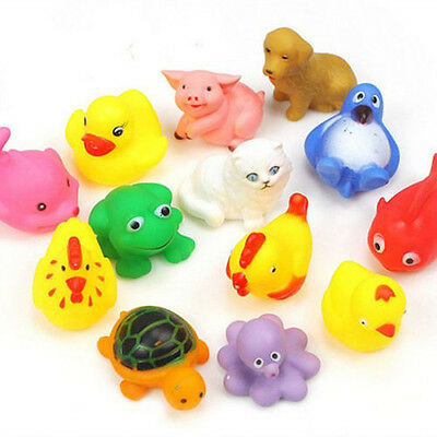 13Pcs Cute Mixed Soft Rubber Float Sqeeze Sound Baby Wash Bath Play Animals Toys