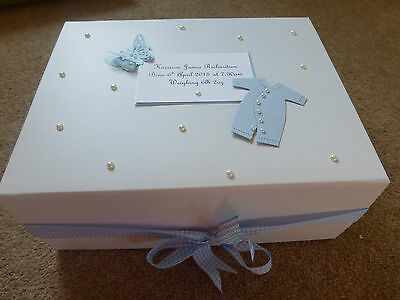 Large Personalised New Baby Boy Girl Memory Box Keepsake Box Christening Gift