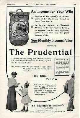 The Prudential Insurance Company  -  Original Advertisement - Large Size  - 1908