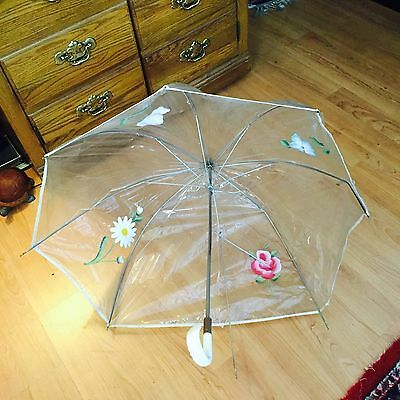 Vintage Retro 60's Clear Plastic Bubble Umbrella w White Curved Carved Handle