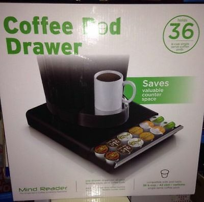 Mind Reader Coffee Pod Drawer For 36 Coffee Pods Keurig K-Cup Holder Black New