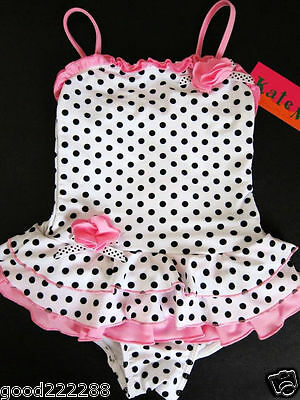 NWT Kate Mack Girls Black White Polka Dots Skirted One Piece Swimsuits 2T-6X #GK