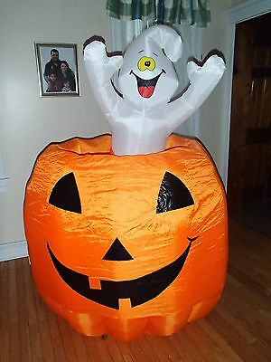 6' FOOT INFLATABLE AIRBLOWN LIGHT GHOSTS PUMPKIN Animated HALLOWEEN GEMMY AS  IS