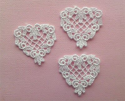 ~Beautiful White Venise Lace Applique Hearts Sewing Embellishments Craft
