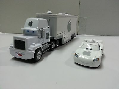 Disney Pixar Cars White Apple Mack Racer's Truck & Jobs Toy Car 1:55 Loose New