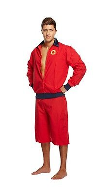 Men's Adult One Size Red Lifeguard Life Guard Baywatch Style Fancy Dress Costume