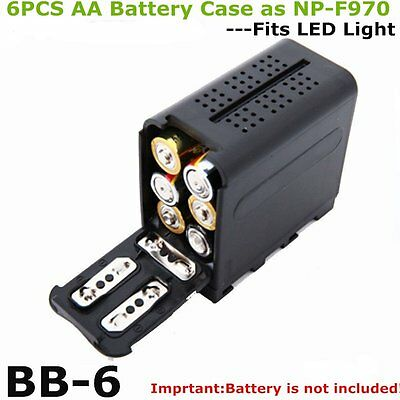 6pc AA Battery Case Pack Power as NP-F970 for LED VIDEO LIGHT Panel YN300 II