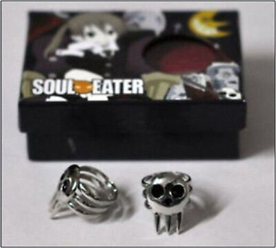 New Free Shipping Soul Eater Death The Kid Cosplay 2 Ring Set Silver#01