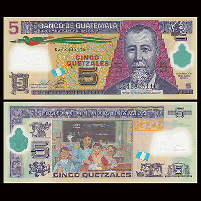 Guatemala 5 Quetzales, 2011, P-122 NEW, Polymer, UNC