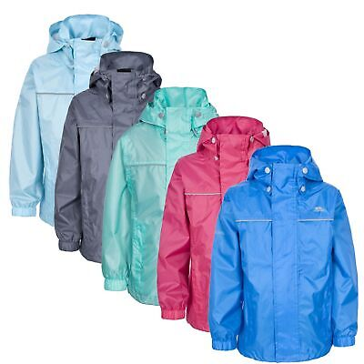 Trespass Neely Kids Waterproof Jacket School Raincoat with Hood for Hiking