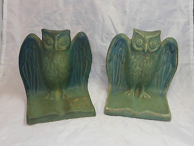 VINTAGE Van Briggle Pottery Owl Book Ends Bookends TURQUOISE BLUE RARE