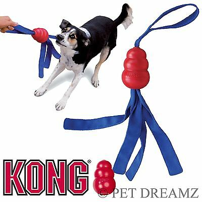 Kong Tails Rubber Dog Strong Tough Fetch Throw Tug Toy Squeaker – 3 Sizes