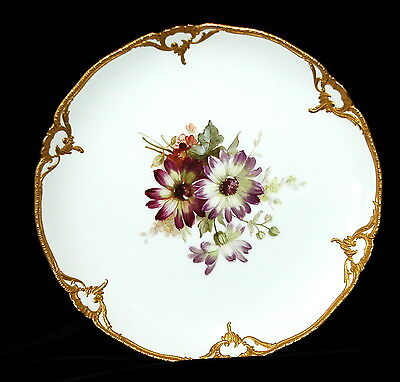 Antique KPM Berlin Floral Raised Gold Porcelain Plate Art Nouveau Jugendstil