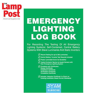 Syam SC160 - Emergency Lighting Log Book ELB/SC160
