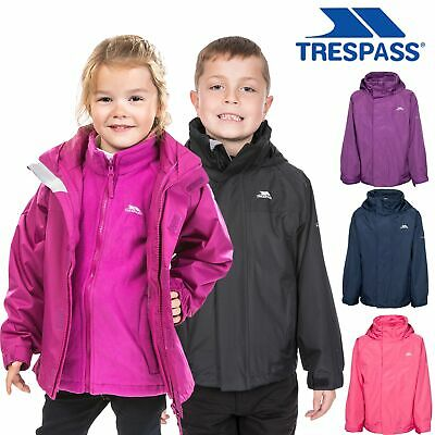 Trespass Girls Boys Raincoat Winter Jacket Waterproof 3in1 School Coat 2-12 Year