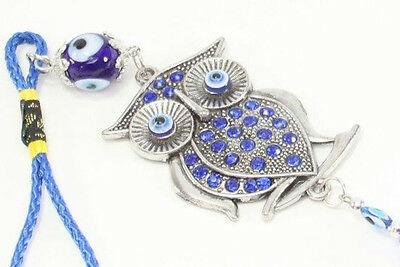 Blue Evil Eye Owl Wall & Car Hanging Amulet Protection Blessing Decor US Seller