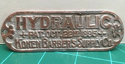 Koken Barbers Supply Co Hydraulic 1895 Name Plate, Tag Placard Barber Shop Chair