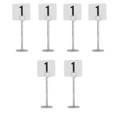 6x Number / Sign Holder, Ring Chrome 200mm Cafe Table Stand, Event & Restaurant