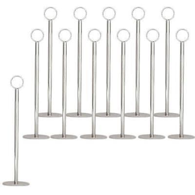 12x Table Number Stand, Ring Clip, 40mm Base, 300mm, Menu / Card Holder