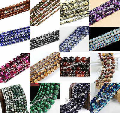 Natural Gemstone Round Spacer Loose Beads Jewelry Making Multi Color 4-12mm DIY