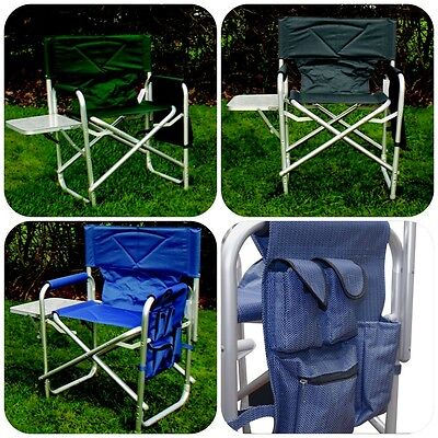 Strong Sturdy Portable Travel Camping Folding Directors Chair - Pockets & Table