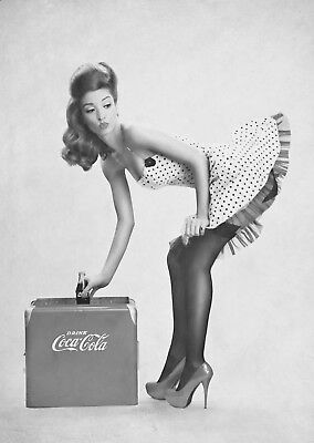 Vintage Coke Pin Up Girl Large Poster Art Print Black & White Card or Canvas