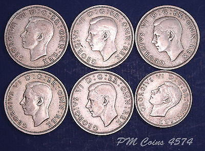George VI KGVI, Half Crown & Two Shilling COINS, 81g of 50% Silver [lot4574]