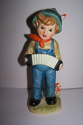 """Vintage Chadwick 9"""" Boy In Blue Overalls Playing Accordion Figurine"""