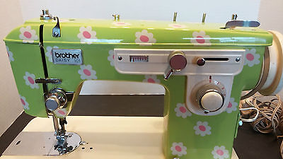Vintage Brother Daisy 101 Portable Sewing Machine 1970's ? Flower Power & Case