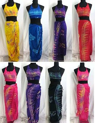 US SELLER-wholesale lot 10 halter top sarong set rayon handmade Bali Indonesia