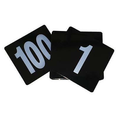 Table Number Set, Ranged 1 - 100, White on Black, Plastic, 105 x 95mm