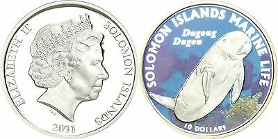 Solomon Islands $10 Dollar Silver Proof Coin,2011,Marine Life,Dugong Dugon,QE II