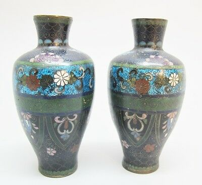 Fine Miniature Pair of Antique Japanese Cloisonne Vases  c. 1880  Meiji-era