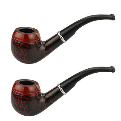 2x Dark Red Durable Wooden Wood Smoking Pipe Tobacco Cigarettes Cigar Pipes NEW