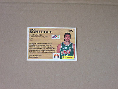 SCHLEGEL   PAU-ORTHEZ  Carte OFFICIAL BASKET-BALL CARDS panini 1994 PRO A