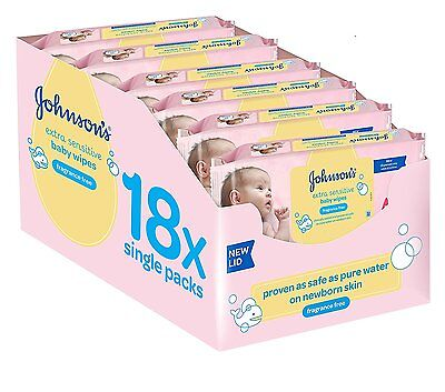 Johnson's Baby Extra Sensitive Fragrance Free Wipes - Pack of 18 Total 1008 FAST
