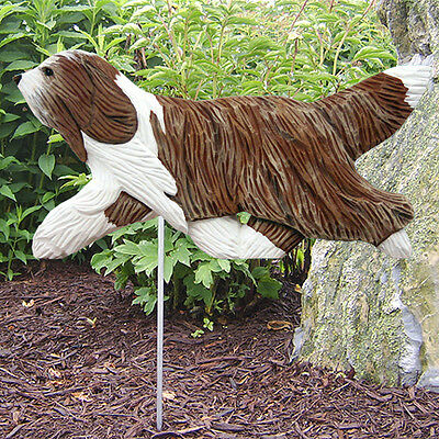 Bearded Collie Wood Carved Dog Figure Yard Garden Stake. Home Decor Dog Products