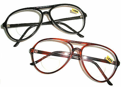 08e2cc9ba8a Bifocal Aviator Reading Cheaters Specs Glasses - Black Or Brown Tortoise  Shell