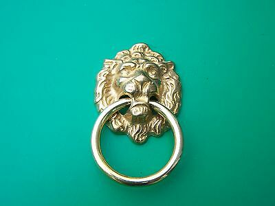 Drop Pull Single Post Ring Pull Lions Head Solid Brass
