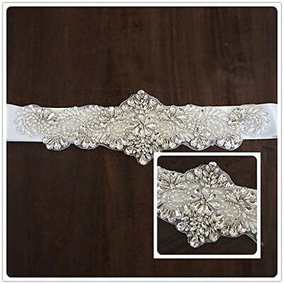 NEW 2015 wedding dress sash with rhinestones and pearls bridal