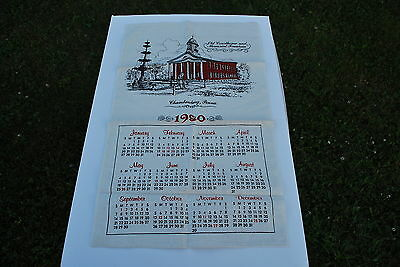 1980  Calender Dish Towel - Chambersburg Old Court House - 27 X 16   inches