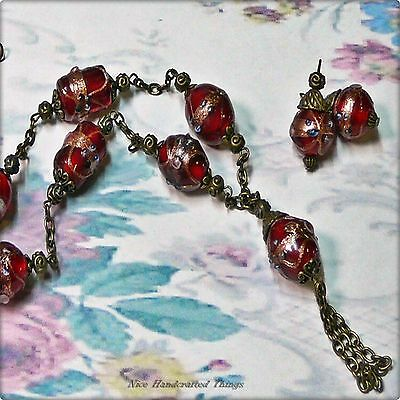 Necklace earring set, Red Fiorato Murano lampwork beads bronzed, any fittings