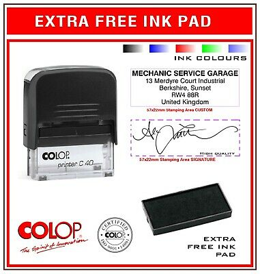 Traxx Self Inking Rubber Stamp 9013 SIGNATURE/TEXT Colors & Extra FREE INK PAD