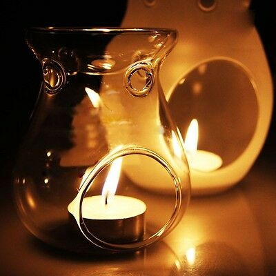 Glass Standing Candle Holder Candlestick Scented Oil Warmer Burner Aroma Stove