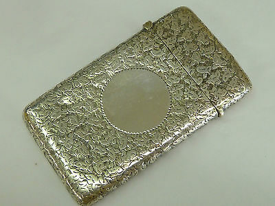 Lovely Ornate Antique Solid Hallmarked Sterling Silver Card Case Birm 1894